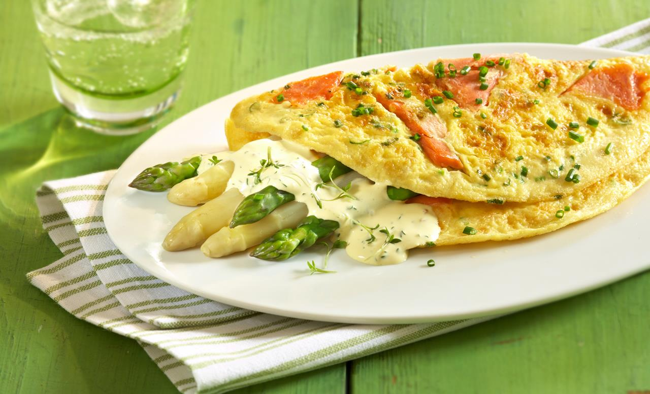Spargel-Lachs-Omelette